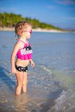 Happy little girl having fun at shallow water Royalty Free Stock Photos