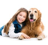 Happy little girl with her dog Royalty Free Stock Photography