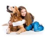 Happy little girl with her dog Stock Photos