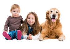 Happy little girl with her dog Royalty Free Stock Photos