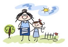 Happy little girl with her grandmother. Colorful cartoon (doodle) illustration of grandmother and granddaughter enjoying the outdoors Royalty Free Stock Photos