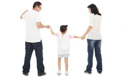 Happy little girl hold parents hands together Royalty Free Stock Photo