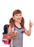 Happy little girl holding healthy lunch Royalty Free Stock Photo