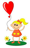 Happy little girl holds balloon in heart shape Stock Photo