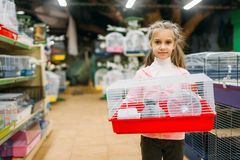 Little girl holds cage for hamster in pet shop. Happy little girl holds cage for hamster in pet shop. Petshop advertising concept royalty free stock photos
