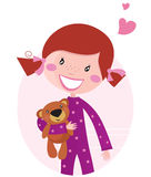Happy little girl hugging teddy bear. Cute little girl with her new toy - Teddy Bear. Vector cartoon illustration Royalty Free Stock Images