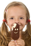 Happy little girl with ice cream Stock Photos