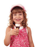 Happy little girl with ice cream Stock Images