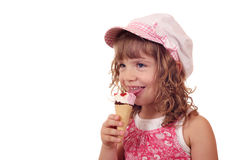 Happy little girl with ice cream Royalty Free Stock Images