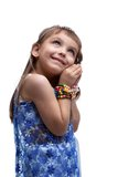 Happy little girl in indian costume dreaming Royalty Free Stock Photo