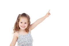 Happy little girl indicating something with the finger Royalty Free Stock Photography
