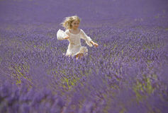 Happy little girl jumps in field of lavender Royalty Free Stock Photo