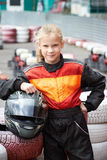 Happy little girl on karting Royalty Free Stock Images