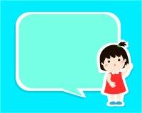 Happy little girl kid with empty speech bubble cartoon . Stock Photo