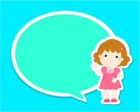 Happy little girl kid with empty speech bubble cartoon . Royalty Free Stock Photos
