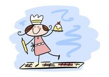 Happy little girl in the kitchen stock illustration