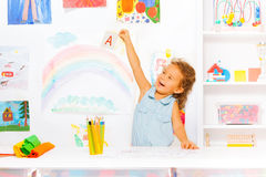 Happy little girl learn first letters Stock Photos