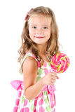 Happy little girl with lollipop isolated Stock Photos