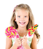 Happy little girl with lollipops isolated Stock Photos