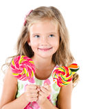 Happy little girl with lollipops isolated Royalty Free Stock Photos