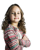 Happy little girl with long hair. Over white background Royalty Free Stock Photography