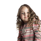 Happy little girl with long hair. Over white background Stock Images