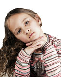 Happy little girl with long hair. Over white background Royalty Free Stock Image
