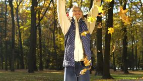 Happy little girl looks at camera and throws yellow leaves in sunny autumn park stock video footage
