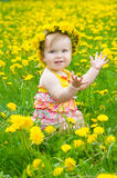 Happy little girl  on the meadow Stock Photography