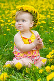 Happy little girl  on the meadow Royalty Free Stock Image