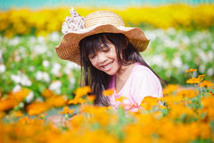 Happy little girl on the meadow Royalty Free Stock Photography