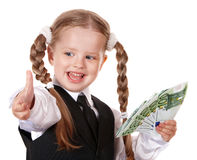 Happy little girl with money euro. Royalty Free Stock Images