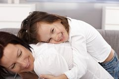 Happy little girl and mother Stock Photo