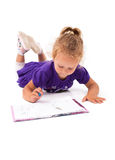 Happy little girl with notebook Royalty Free Stock Photography