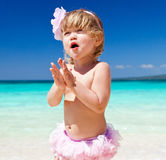 Happy Little Girl On The Beach Royalty Free Stock Images