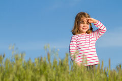 Happy little girl outdoor Stock Photos