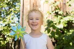Happy little girl outdoor Stock Photos