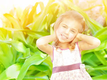 Happy little girl outdoors Royalty Free Stock Photo