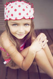 Happy little girl outdoors royalty free stock photography