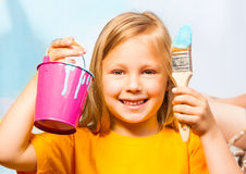 Happy little girl with painting accessories Royalty Free Stock Photo