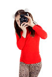 A happy little girl photographs Royalty Free Stock Photography