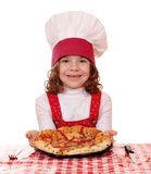 Happy little girl with pizza Royalty Free Stock Image