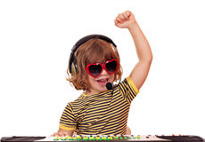 Happy little girl play music Stock Photography