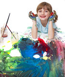 Happy little girl playing with colors Royalty Free Stock Photo