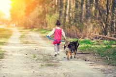 Little girl playing with a dog running on dirt road along forest royalty free stock image