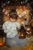 Little girl  at Christmas Eve Royalty Free Stock Photo