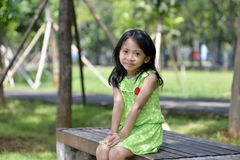 Happy little girl playing outside Royalty Free Stock Photos