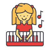 Happy little girl playing on piano, pianist concept. stock illustration