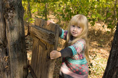 Happy little girl playing with a rustic gate Stock Photos