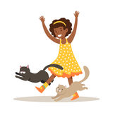 Happy little girl playing with two kittens. Colorful cartoon character vector Illustration Stock Photography